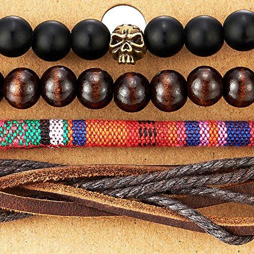 4 Mélanger Noir Brun Envelopper Bracelet Homme Femme, Multi-brins Bracelet en Bois Perles Crâne Cuir Bracelet