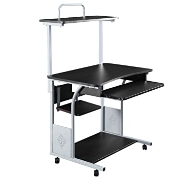 computer desk printer shelf stand rolling laptop home office study table depot work tables small