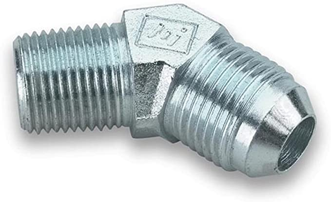 """Earls Fitting Adapter 45 Degree 4AN Male 1//8/"""" NPT Male Steel Natural 962304"""