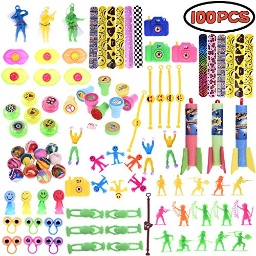 Boys Toys Accessory Assortment Party Favor Boxes for Birthday Party Supply, Pinata Toy, Carnival Prizes, Goodie Bags, School Prizes 100 PCs