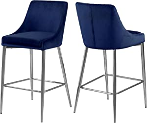 Meridian Furniture Karina Collection Modern | Contemporary Velvet Upholstered Counter Stool with Polished Chrome Metal Legs and Foot Rest, Set of 2, Navy