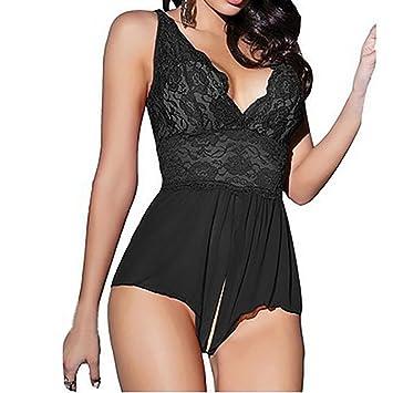 5c64f0f8a9a3 Las mujeres encaje lencería entre pasión sin mangas Sexy ropa ...