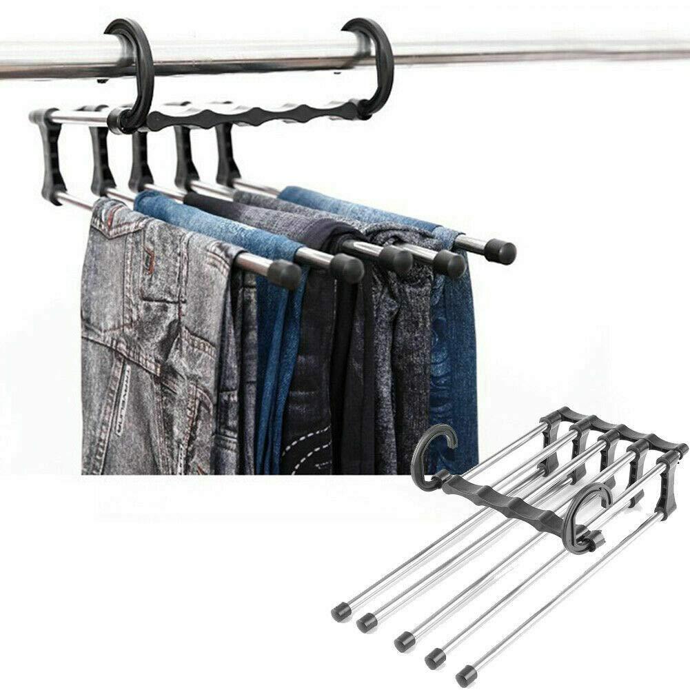 Overstep 5-in-1 Multi-Function Stainless Steel Magic Frame Hanging Wrinkle-Free Pants Hanger Foldable Multi-Functional Space-Saving Wardrobe Storage Hanger