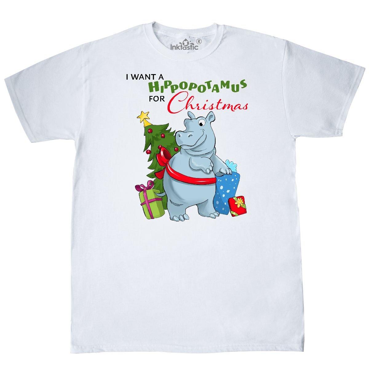 Amazon.com: inktastic Want a Hippopotamus For Christmas T-Shirt ...