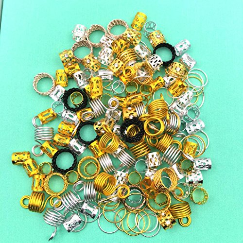 Hair Cuffs Metal Hair Braiding Beads with Crystal Aluminum Dreadlocks Accessories Spring Hair Jewelry Hair Decoration Hoops Hair Rings for Braids (175 Pcs Multiple Styles) by Messen by Messen (Image #6)