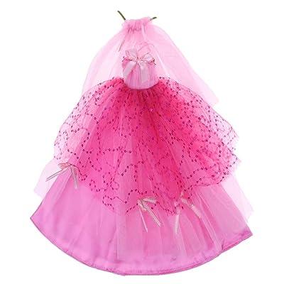 F Fityle Lindo Ropa de Vestir de Encaje en Miniatura para Muñeca Chica Escala 1/3 - Rosa roja: Juguetes y juegos