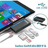 Opluz Microsoft Surface Go Type C hub, USB3.0高速伝送USB C Combo Hubアダプター+ TF / SDカードリーダースロットx2(ペンドライバー)+Micro SDカードスロットx1 +Micro USB充電ポートx1 Surface Go(10'') の専用デザイン