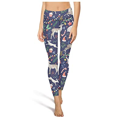 ac26d1bf73a6d1 medssii Women Yoga Pants Blue Christmas Animals Super Soft Yoga Leggings  with Pockets