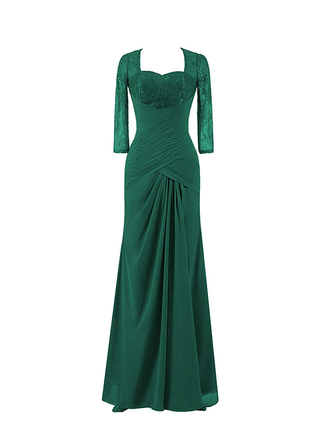 Dark Green Mother of The Bride Dresses with Long Sleeves Plus Size Evening Gown Lace Mothers Dress Formal Gowns