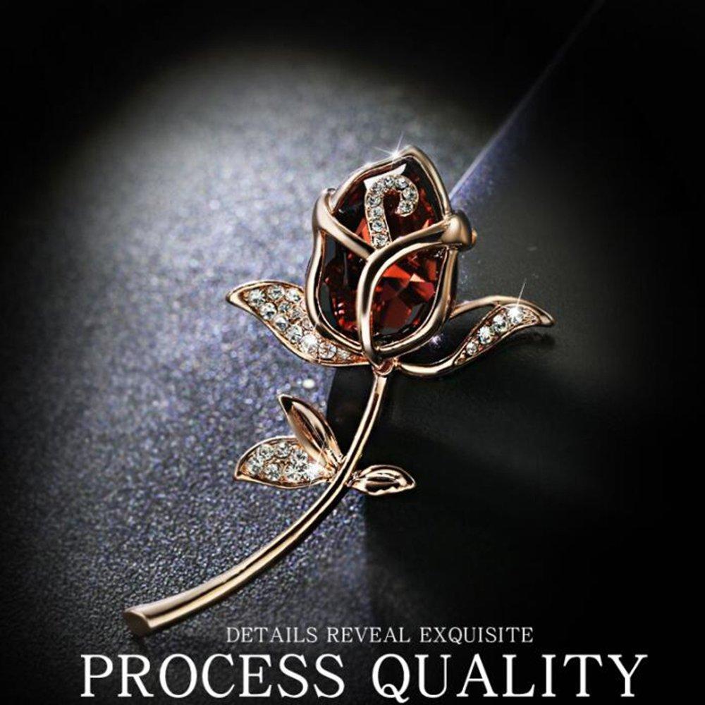 Grtdrm Created Rhinestone Crystal Brooch Classy Rose Flower Fashion Pin Gift for Women Girls