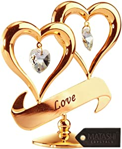 """24K Gold Dipped Love"""" Ornament, Two Hearts with Dangling Crystals, Above a """"Love"""" Inscribed Banner, in Gift Ready Box, Gift Idea for Valentine's Day, Birthday, Mother's Day, Anniversary, Christmas"""