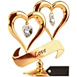 "Mothers Day Gift – 24K Gold Dipped ""The Love of a Mom"" Ornament, Two Delicate Hearts with Dangling Crystals, Hang Above a ""LOVE"" Inscribed Banner, Great Gift Idea for Mother's by Matashi"