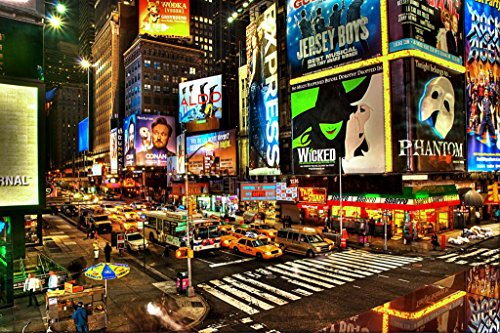 Precious Broadway Midtown Manhattan New York City NYC Illuminated Photo Art Print Cool Huge Large Giant Poster Art 54x36 (New York City Poster Broadway)