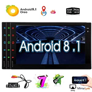 Upgraded Android 8.1 2G RAM 7 Inch Touchscreen in Dash Double Din Car Stereo System GPS Navigation WiFi Bluetooth Handsfree Radio Headunit with Free Rear Camera support optional OBD2/3G/4G