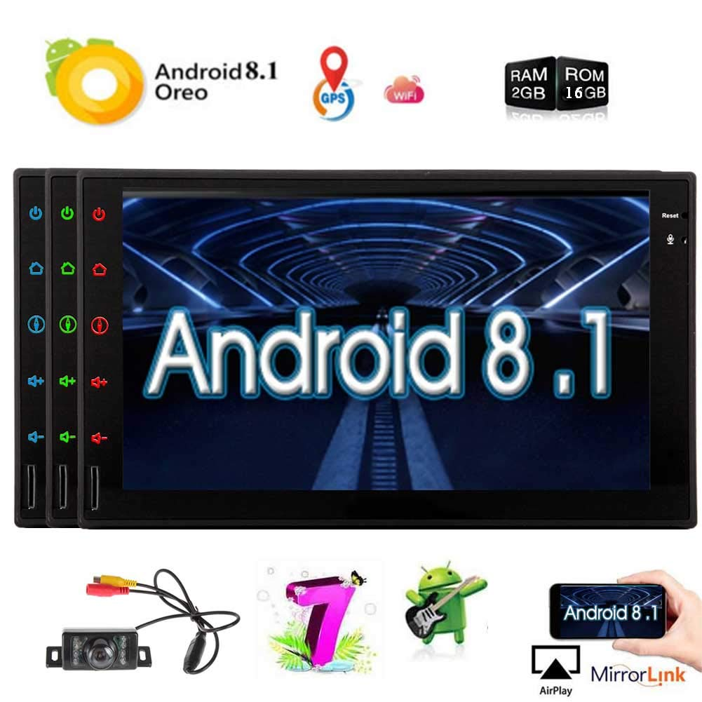 Upgraded Android 8 1 2G RAM 7 Inch Touchscreen in Dash Double Din Car  Stereo System GPS Navigation WiFi Bluetooth Handsfree Radio Headunit with  Free