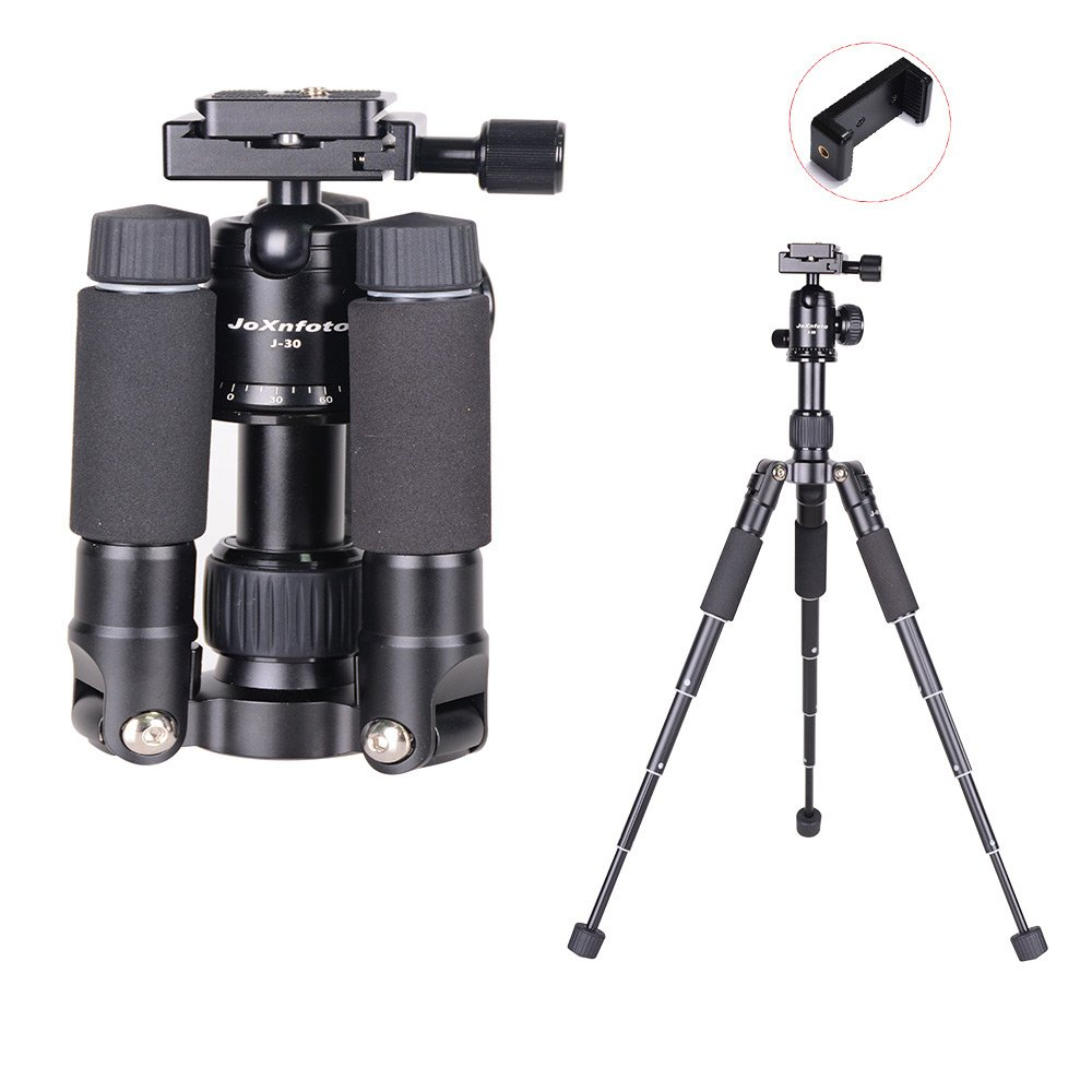 Video Camera Tripod Mini Tripod Travel Tripod for DLSR Canon Nikon Sony Cameras Cellphones, Flexible Compact Tripod with Ball Head Quick Release System Phone Mount