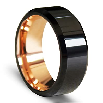 polished beveled tungsten carbide rings rose gold plated interior 8mm 6 - Mens Wedding Rings Tungsten