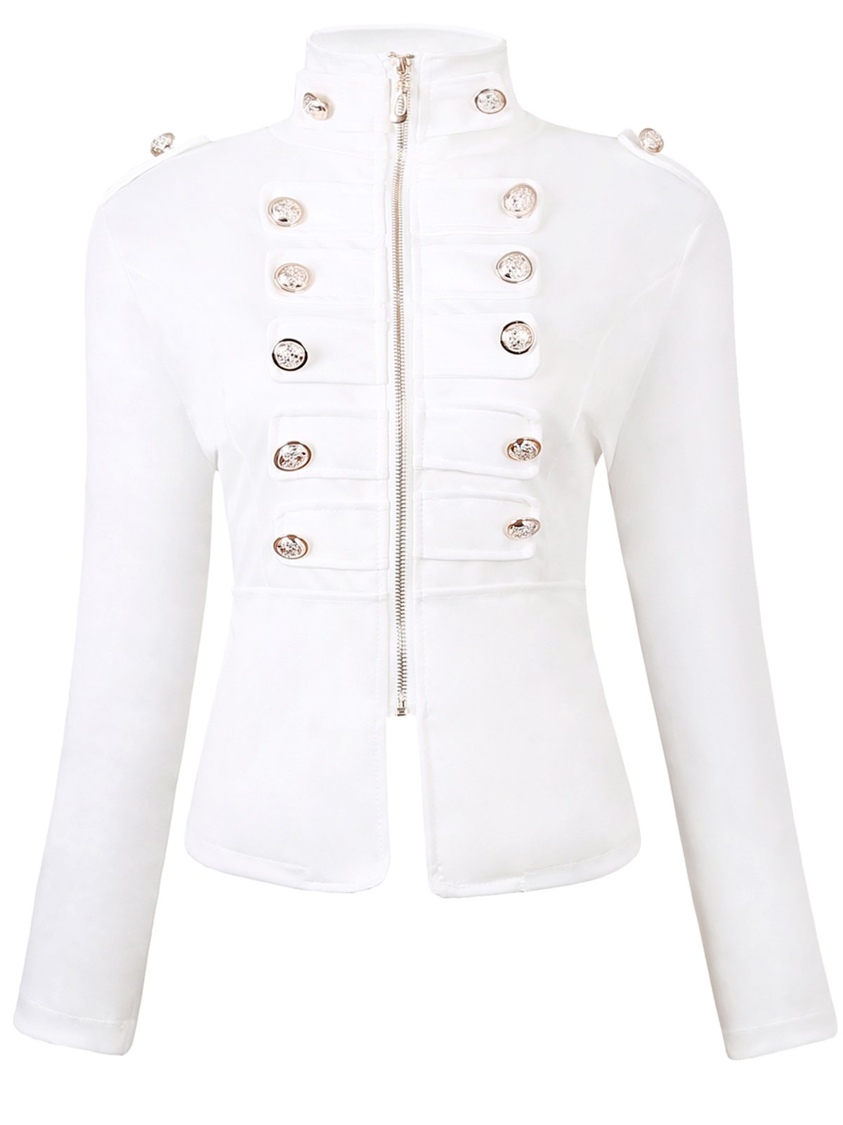 JOKHOO Women's Zip Front Stand Collar Military Light Jacket (White, L)