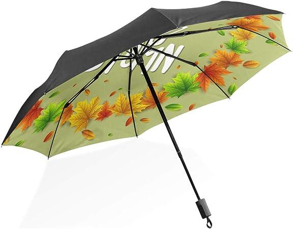 Paraguas de Viaje Hola Otoño Otoño Temporada de Cosecha Portátil Plegable Paraguas Plegable Protección contra el UV Resistente al Viento Viaje Mujeres Paraguas invertido Negro: Amazon.es: Equipaje