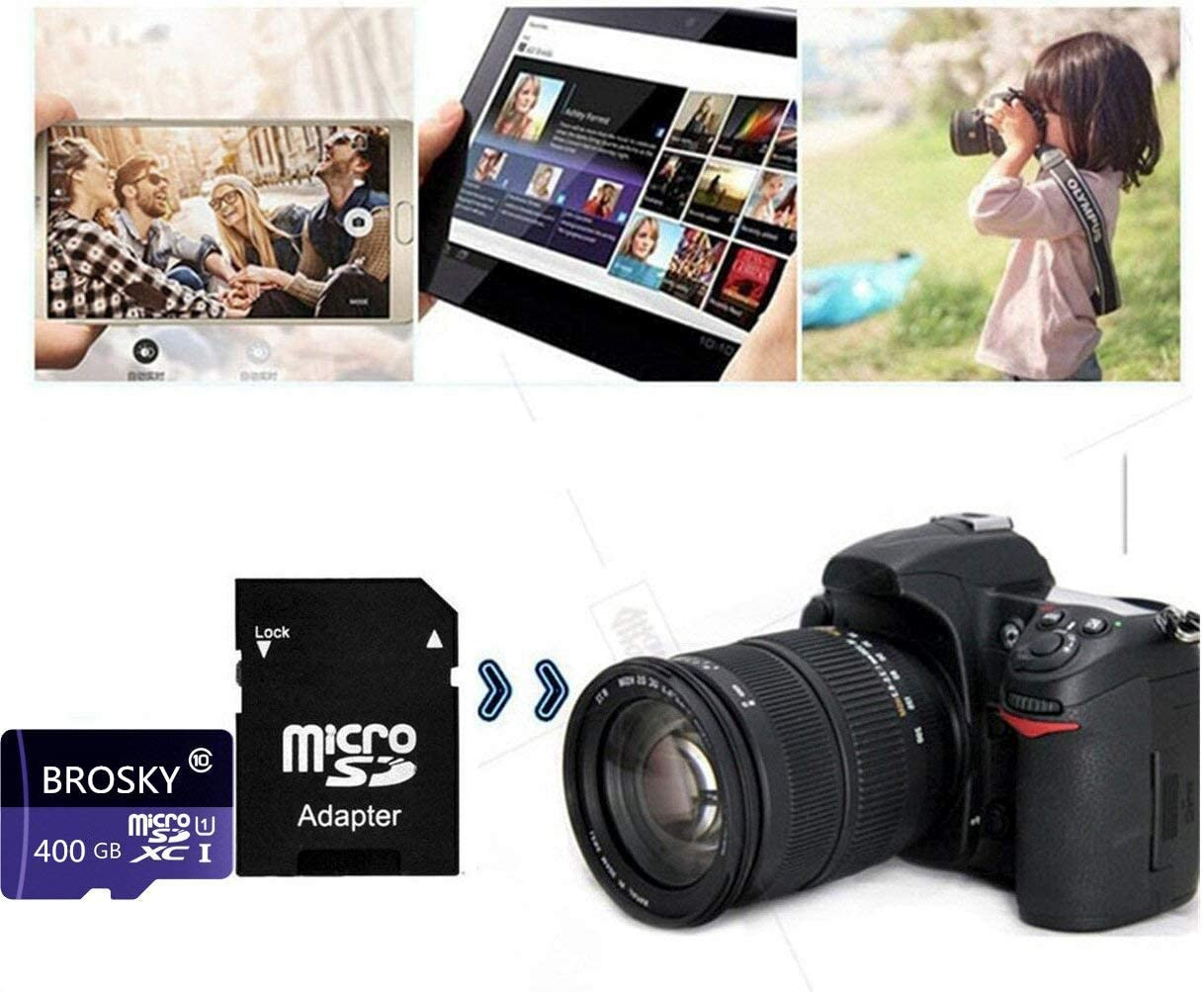 Carte Haute Vitesse Classe 10 SDXC 400GB Geneircc Carte M/émoire Micro SD 256 Go//400 Go//512 Go//1024 Go avec Adaptateur Gratuit