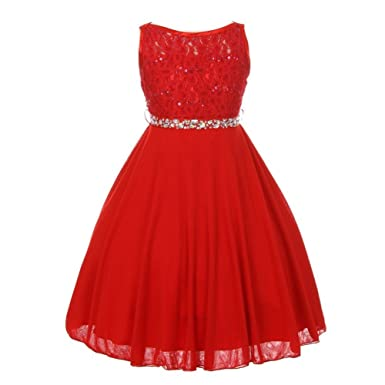 cinderella couture big girls red sparkle sequin lace chiffon occasion dress 8 - Red Dresses For Christmas