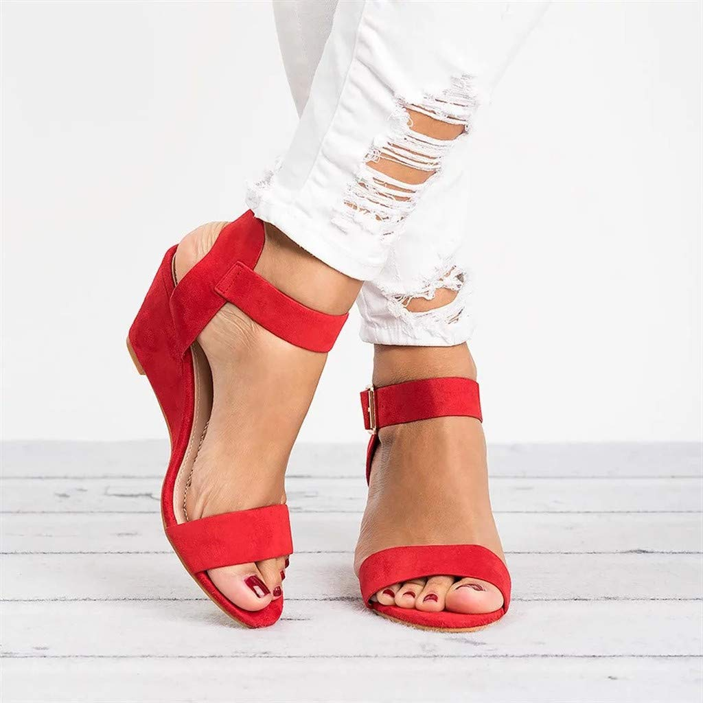 ●˙▾˙● Respctful Womens Fashion Heels Solid Buckle Strap Wedges Zipper Slouchy Shoes Summer 2019 Sandal
