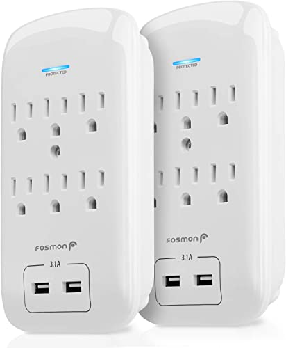 Fosmon 6 Outlet Surge Protector 1200J 2 Pack with 3.1A Dual USB Ports Charger, Multi Plug Outlet Extender 1875 Watt, 3-Prong Grounded Wall Tap Splitter Adapter