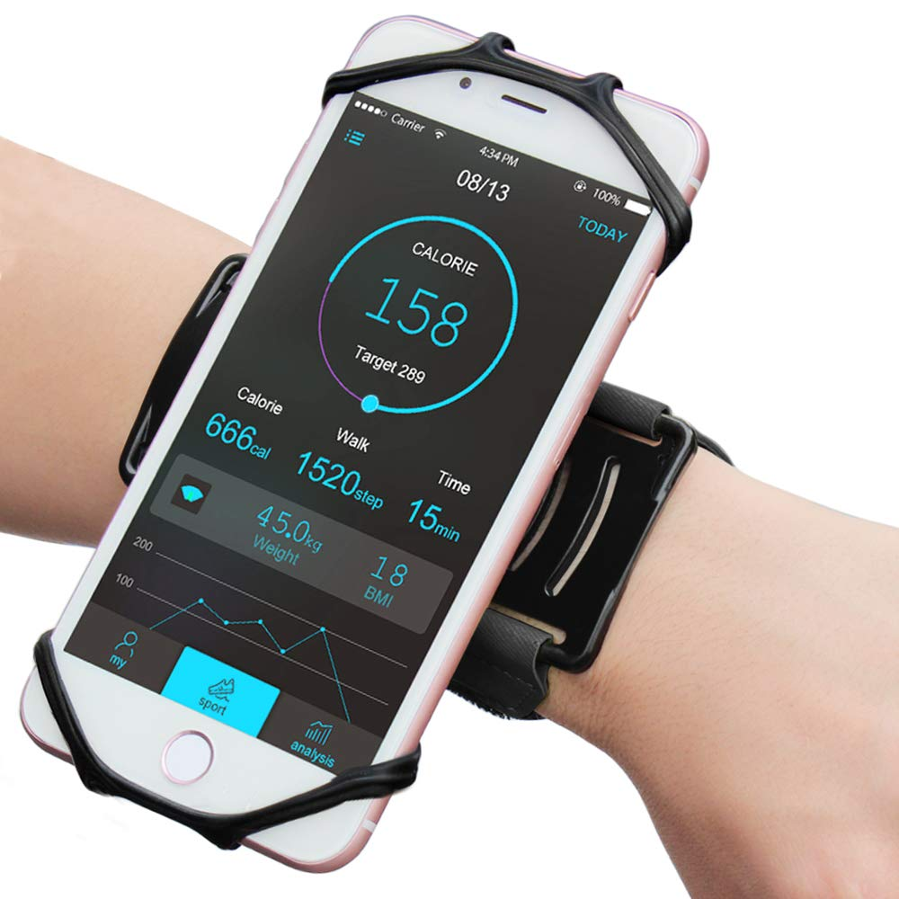 Matone iPhone 7/7 Plus/6/6S Plus Wristband, 180° Rotatable Phone Holder Forearm Armband Ideal for Jogging Running Compatible with Samsung Galaxy S8/S7 & 4.0''-5.5'' Smartphone (Black)