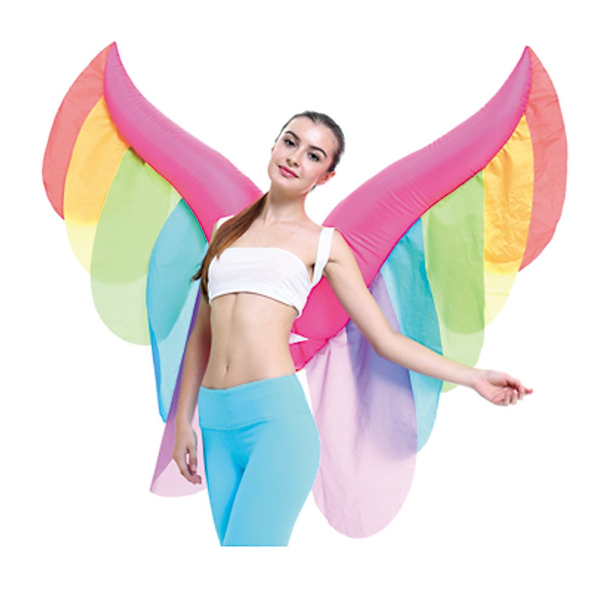 Inflatable Novelty Fairy Butterfly Rainbow Wings Halloween Costume Party Suit Fancy Dress by Qshine (Image #3)