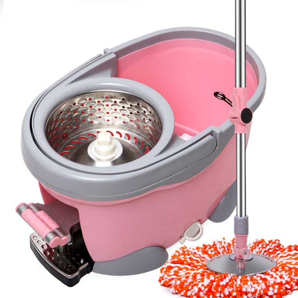 モップ完全洗浄システムモップヘッド+ 360°回転モップバケット時間と労力を節約ロータリーモップ (色 : Pink) B07FMRT5R2 Pink