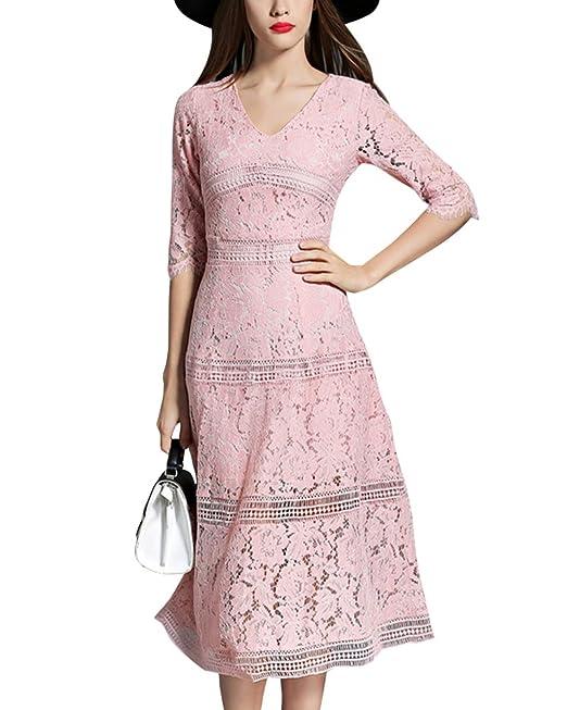 Vestido Encaje de Mujer Vintage Cuello En V Slim Vestidos de Novia: Amazon.es: Ropa y accesorios