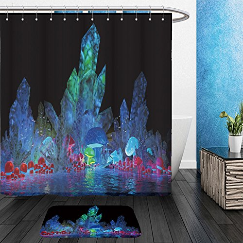 [Vanfan Bathroom 2 Suits 1 Shower Curtains &  1 Floor Mats magical crystals and mushrooms_24497582 From Bath room] (Dark Crystal Beetle Costumes)