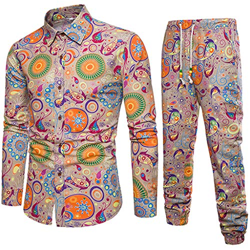 Print Linen Tracksuit Top+Pants Suit Men Business Slim Fit Outfits