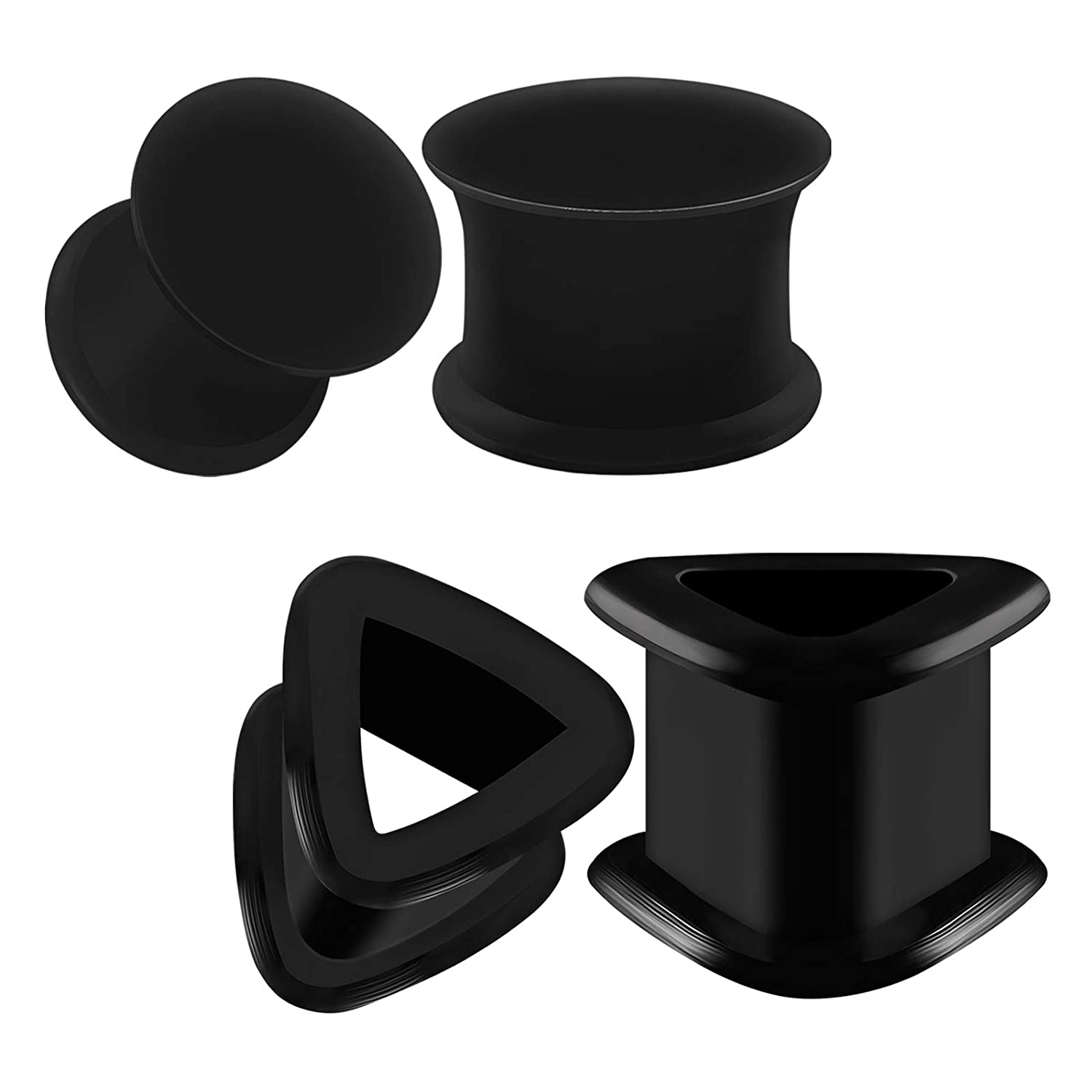 Flesh Tunnels Soft Silicone Great For Every Day Black Big Gauges