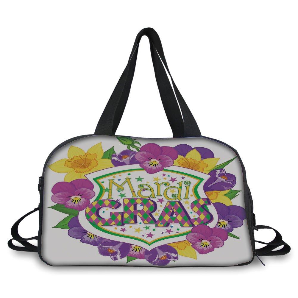 iPrint Travel handbag,Mardi Gras,Blazon with Flourishing Colorful Flowers Coat of Arms Masquerade Holiday Theme Decorative,Multicolor ,Personalized