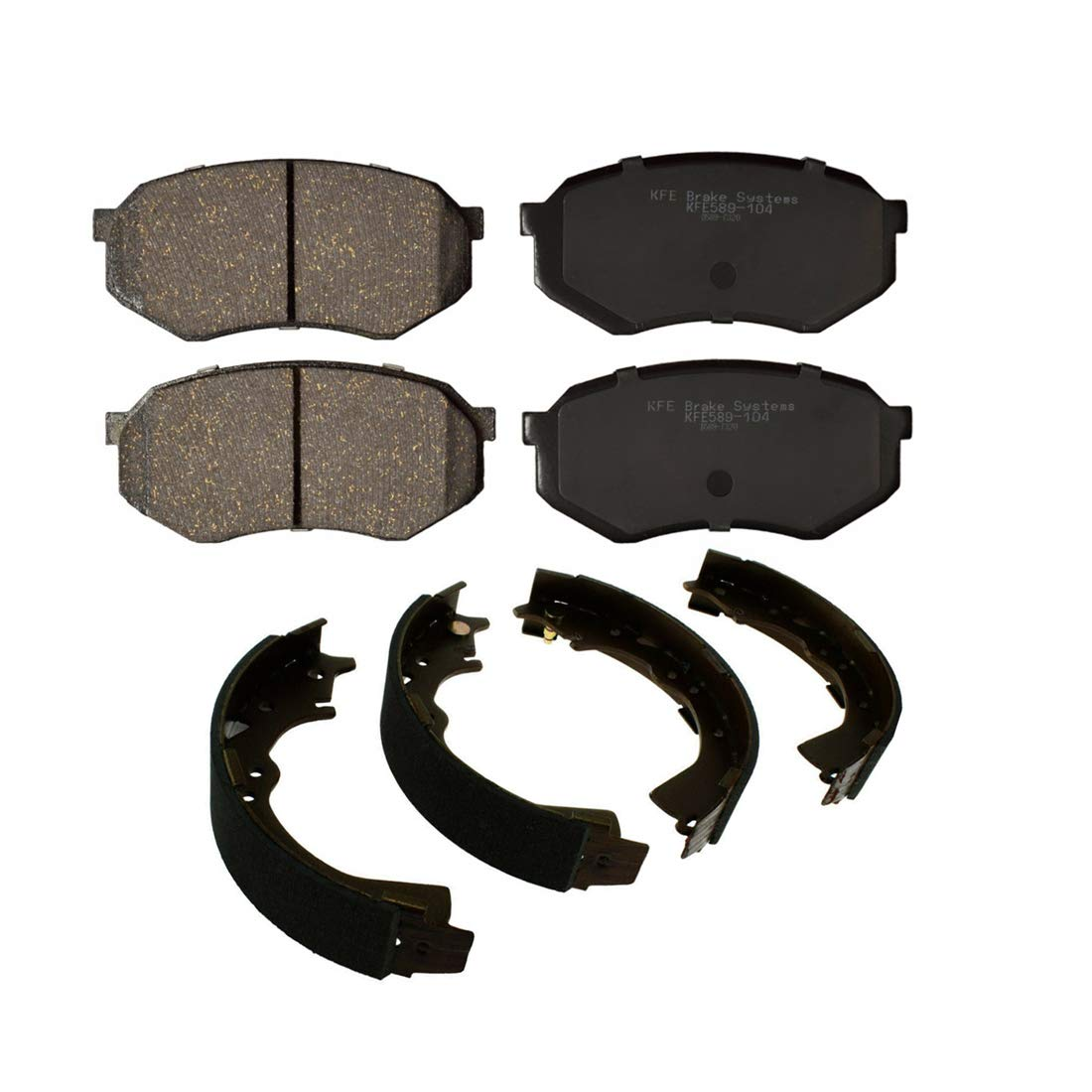 AutoDN Front and Rear Ceramic Brake Pads and Brake shoes 2SET For Toyota Tacoma