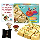 BOGATCHI Soan Papdi Rakhi Gift Complete Hamper, Rakhi Combo Gift, Rakhi Gift for Brother, Rakhi Sweets for Brother,450g + Free Rakhi Greeting Card + Free Rakhi + Roli Chawal