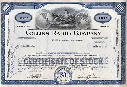 1965 SUPERB ART DECO VINTIAGE COLLINS RADIO STOCK CERTIFICATE! WW2 MILITARY and AEROSPACE COMMUNICATIONS! BUY 2 and 2ND COLOR SHIPS FREE! 100 SHARES (Blue) Unicrculated ()