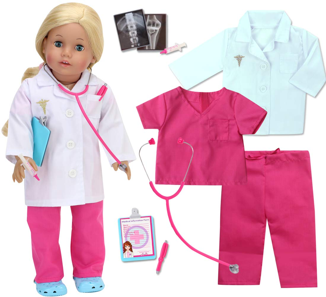 Sophia's 18 Inch Doll Doctor Outfit and Medical Accessories 10 Piece Doctor or Nurse Set with Outfit and Accessories for Perfect for American Dolls and More!