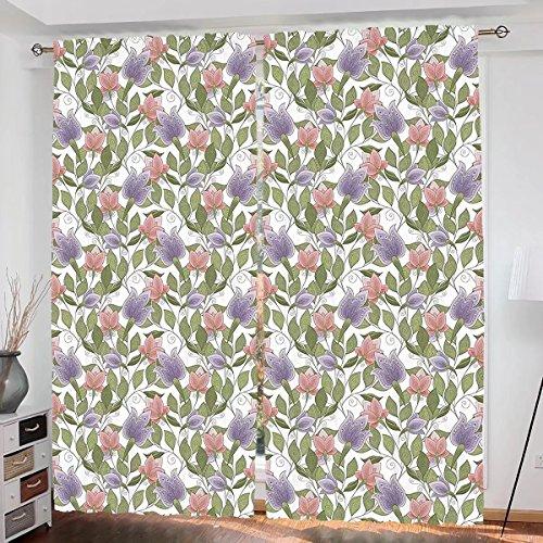 Pastel Crystal Petals (Floral Custom design Pastel Tone Tulip Flower Aged Ottoman National Symbol Petals Image curtain Living Room Bedroom Window Drapes 2 Panel Set 54