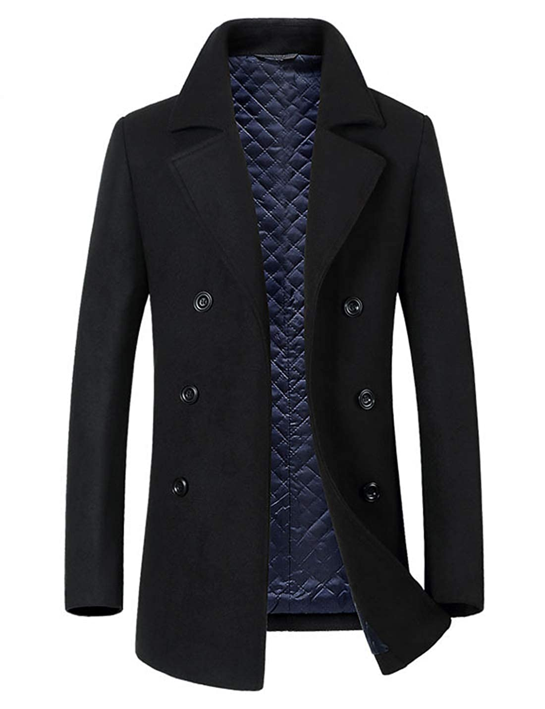 Yeokou Men's Casual Slim Winter Double Breasted Mid Long Wool Pea Coat Overcoat
