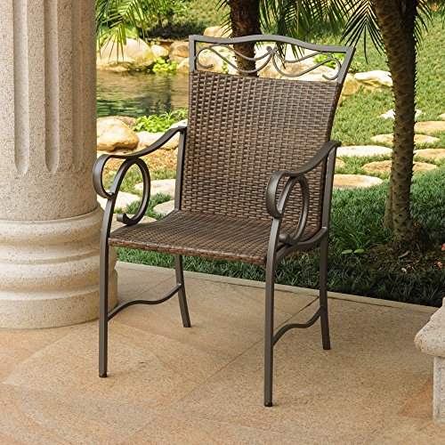 International Caravan Valencia All-Weather Wicker Patio Dining Chair - Set of 2
