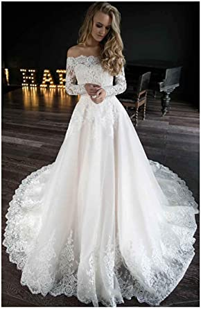 Amazon Com Off The Shoulder Wedding Dresses For Bride Long Sleeves Lace Beaded Wedding Bridal Gowns Clothing
