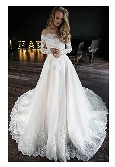 Off The Shoulder Wedding Dresses Long Sleeves Lace Beaded