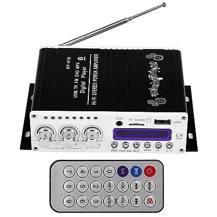 Amplificador de Potencia de Alta Fidelidad de Digitaces del Amplificador de Audio Est/éreo de Bluetooth EBTOOLS Amplificador Est/éreo del Coche negro