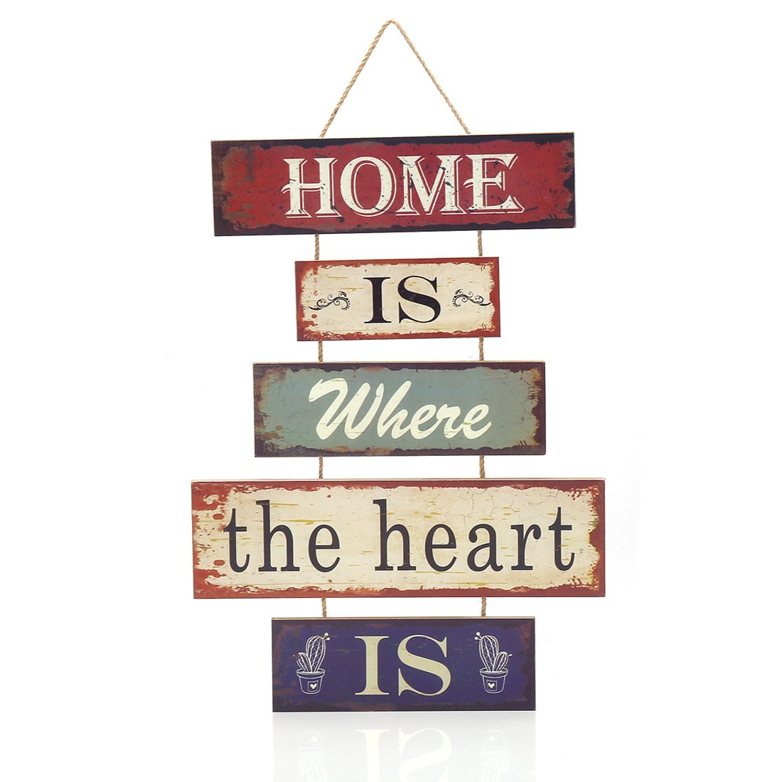 "16.8""x12"" MDF Wood Fun Decorative 5-Plate Welcome Hanging Plaque Sign (Home is Where The Heart is)"