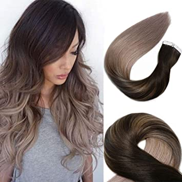Tape In Hair Extensions Human Hair Balayage Ombre Hair 20pcs 50g Per Set Dark Brown Fading To Silver