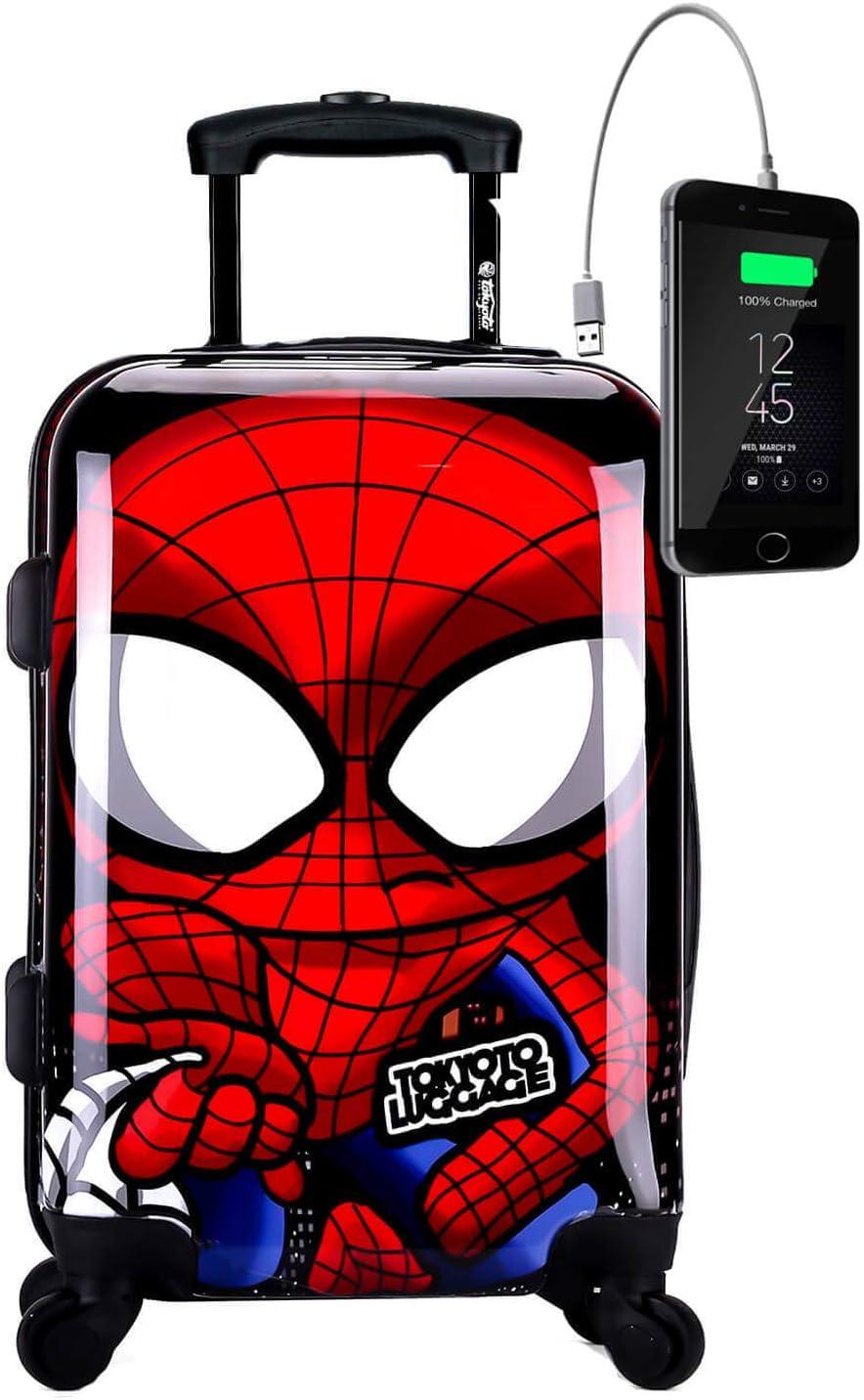 TOKYOTO - Maleta de Cabina Equipaje de Mano Spider Boy con Cargador USB, 8000mAh, 55x40x20 cm   Maleta Juvenil, Trolley de Viaje Ryanair, Easyjet   Maleta de Viaje Rígida