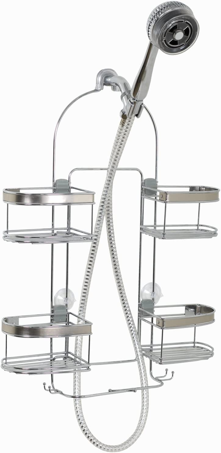 1 Showerhead Shower Caddy White Zenna Home Over-The