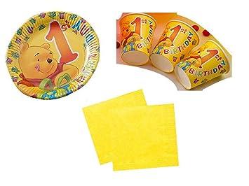 Party Deko Set 1.Geburtstag Winnie Pooh Kindergeburtstag für 10 ...